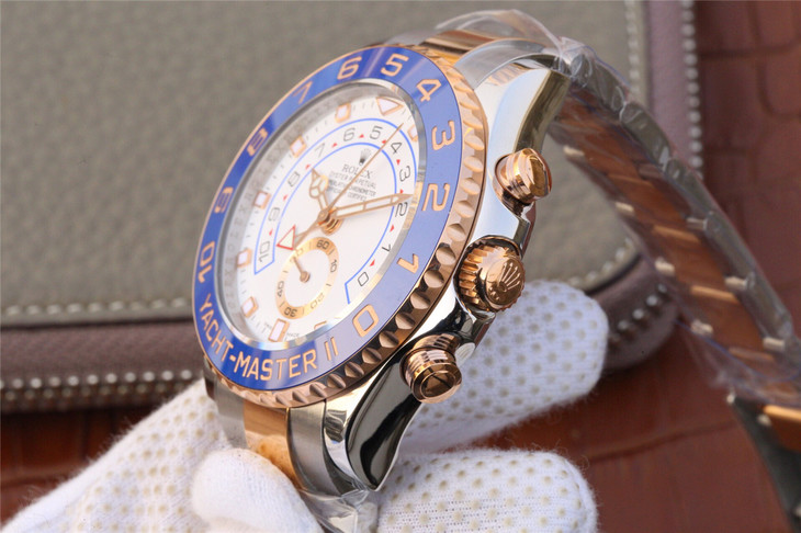 Replica Rolex YachtMaster II Rose Gold Crown