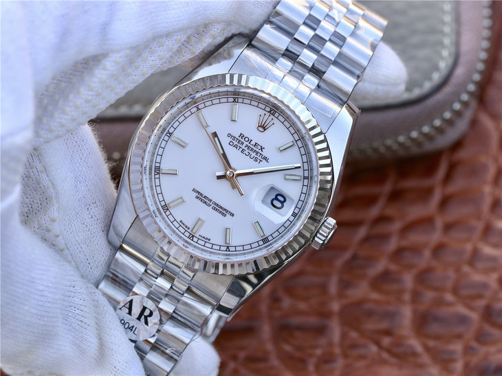 ARF Replica Rolex 36mm Datejust White Steel