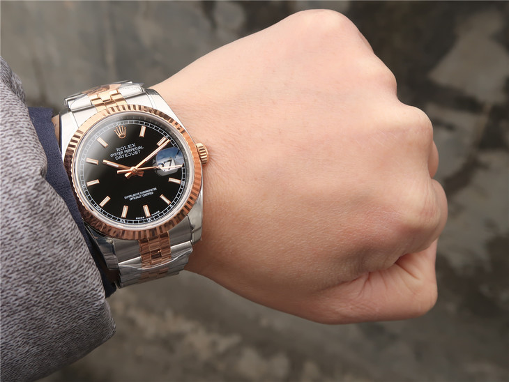 AR Factory Replica Rolex Datejust 36mm Two Tone Rose Gold ...Rolex Datejust 36mm On Wrist