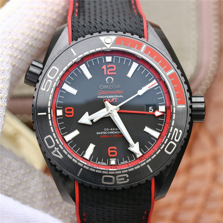 Omega Deep Black Red Watch
