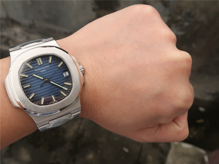 Patek Philippe Blue Nautilus Wrist Shot