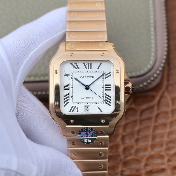 d4cd236f21472 BV Factory Replica Cartier Santos 100 XL 40mm Ros Gold Watch with Miyota  9015 Movement