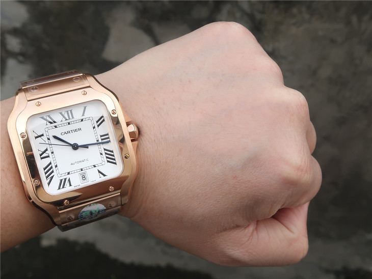 Cartier Santos 100 Rose Gold Watch Wrist Shot