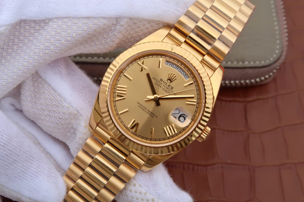 Replica Rolex Day-Date Wrapped Gold Watch