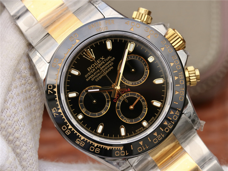 Replica Rolex Daytona Two Tone Black Dial