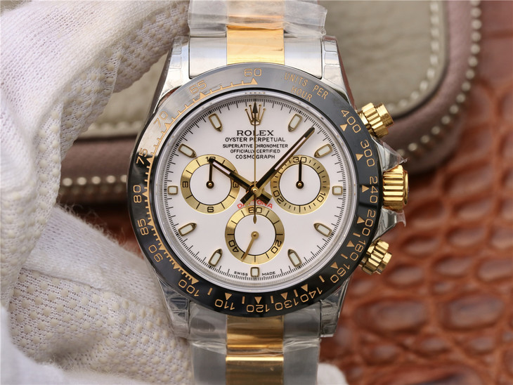 Replica Rolex Daytona Two Tone White Dial