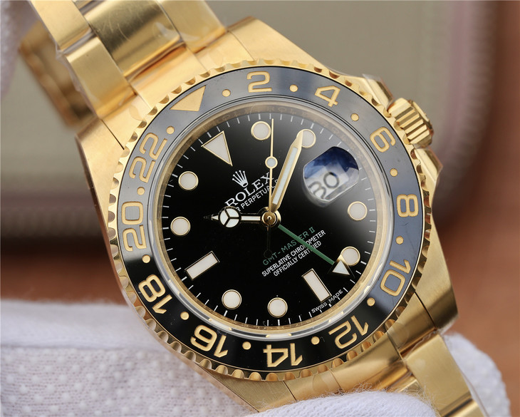 Replica Rolex GMT-Master Gold Black Dial