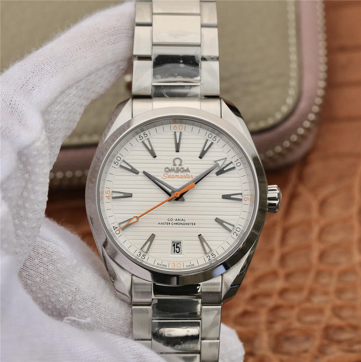 Omega Aqua Terra White Dial with Orange Hand