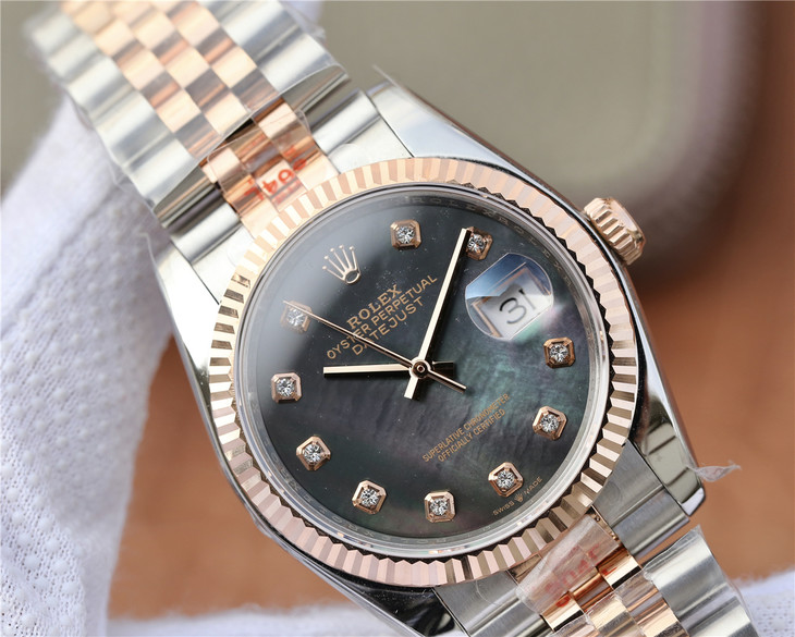 Replica Rolex Datejust Black MOP Dial