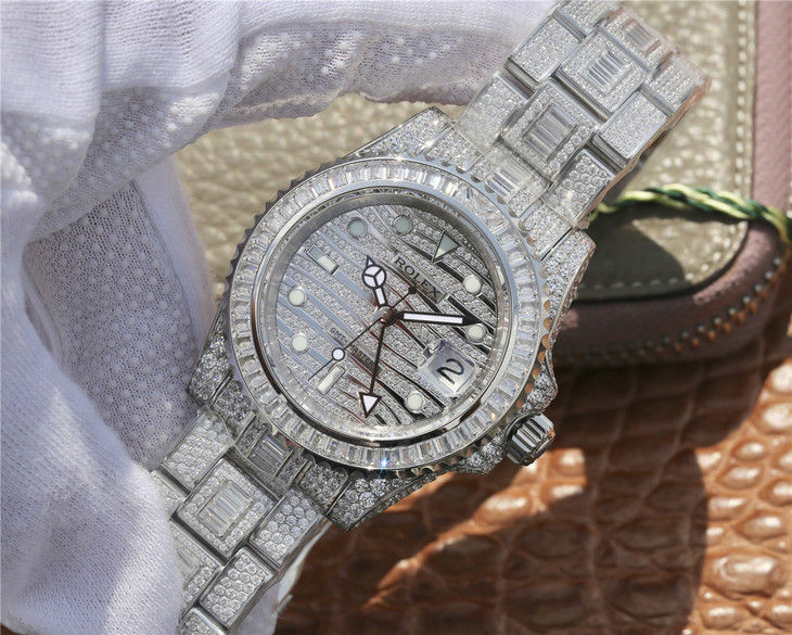 Replica Rolex GMT-Master II Full Diamond Watch