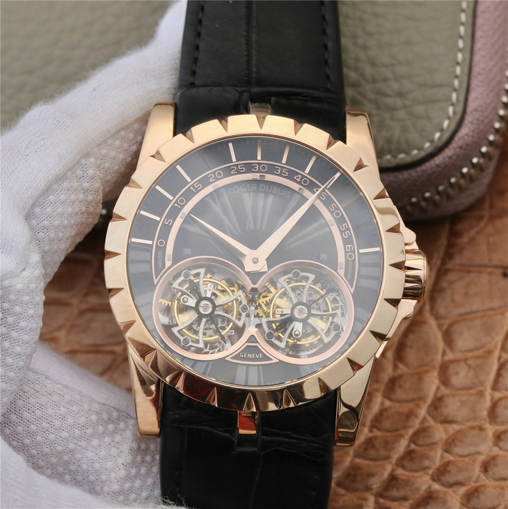 Replica Roger Dubuis Double Tourbillon Rose Gold Black Dial