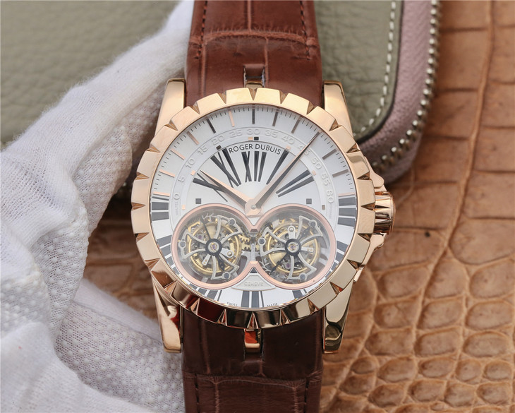 Replica Roger Dubuis Double Tourbillon Rose Gold White Dial