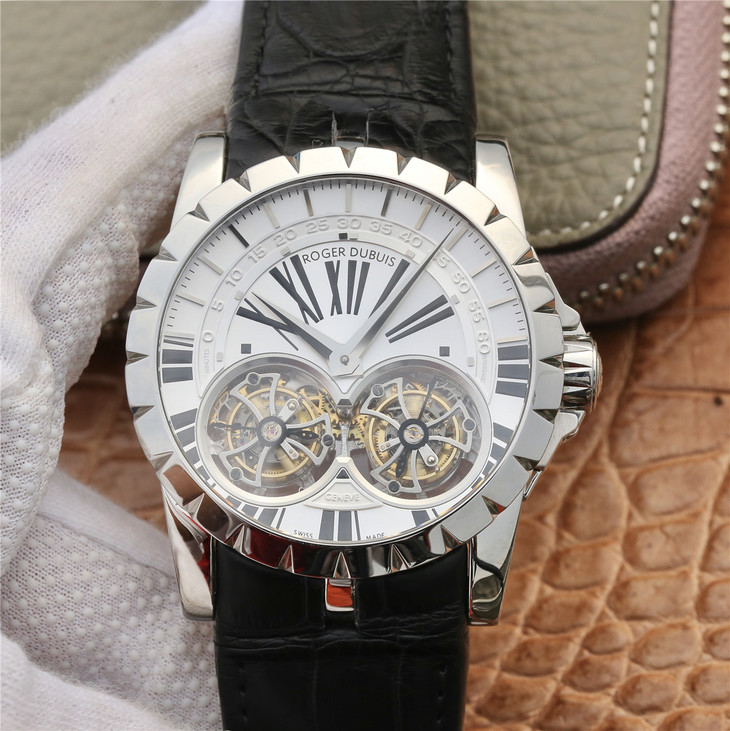 Replica Roger Dubuis Double Tourbillon White Dial