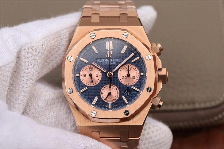 Audemars Piguet Royal Oak Chronograph Rose Gold Blue Dial