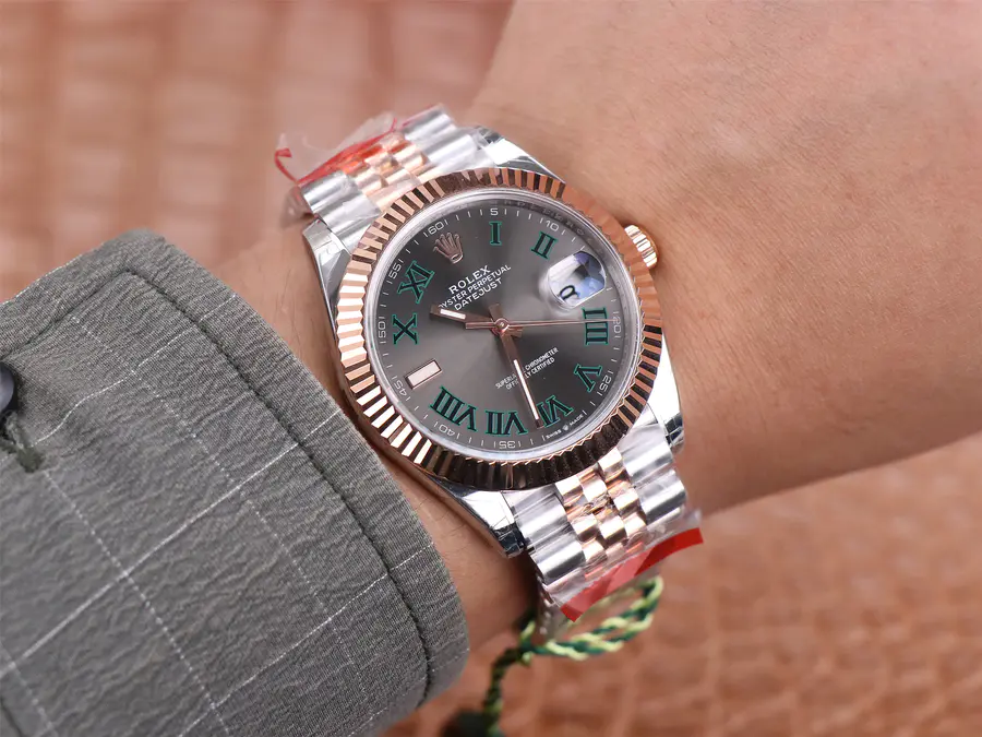 Rolex Datejust Green Roman Wrist Shot