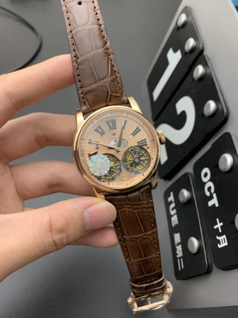 Replica Roger Dubuis Double Tourbillon Rose Gold with Brown Leather Strap